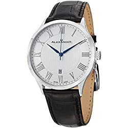 Alexander Men's Quartz Watch with Silver Dial Analogue Display and Black Other Strap A103-01