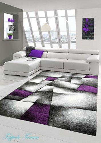 Designer Teppich Moderner Teppich Wohnzimmer Teppich Kurzflor Teppich mit Konturenschnitt Karo Muster Lila Grau Weiss Schwarz Größe 120x170 cm