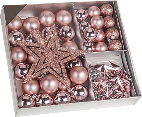 Weihnachtsbaumschmuck Set - 45 teilig in Rosatönen - 36 Kugeln, Weihnachtsbumspitze, Dekosterne und Kette