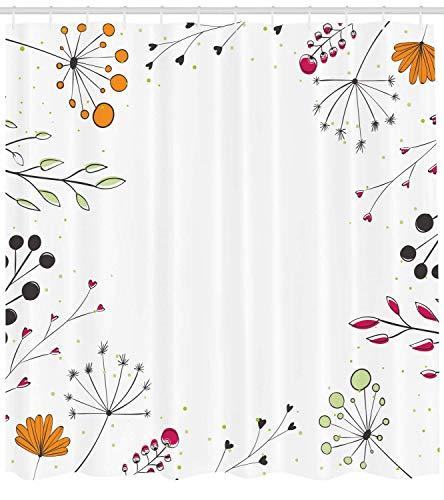 66x72 pollici tenda da doccia moderna,rami floreali con fiori geometrici,stampa di opere d'arte natura,set di decorazioni per il bagno in tessuto di stoffa con ganci,magenta bianco