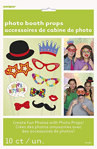 Unique Party- Paquete de 10 accesorios de cabina de fotos Fiesta de Cumpleaños de Confetti, Multicolor, talla única (61935)