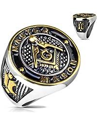 Edelstahl Ring Masonic Freimaurer Zirkel Symbol Leser etched schwarz black IP