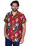 Funky Camicia Hawaiana, Cherry Parrot, red, M