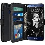 Coque Huawei Honor 8 Pro, LK Housse Coque Protecteur Clapet Portefeuille Cuir PU Luxe avec Fentes et Support de Carte - Noir