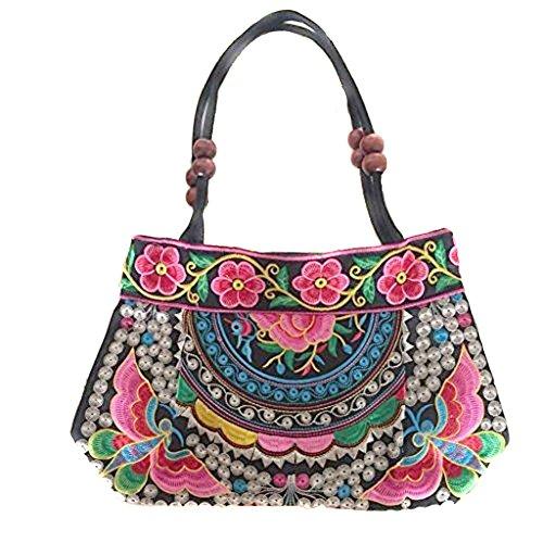 Bestickte Sommertasche Handtasche Damen Trend 2017 Bunt Flowerpower Schultertasche Mosaik (Bestickte Schultertasche)