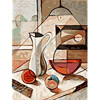 Pinte por Números para Adultos DIY Mesa De Comedor Abstracta con Cepillos Decoración del Hogar 40x50cm