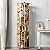 DULPLAY 360° drehbar Bambus Bücherschrank, 6-Stufen Einlegeboden Schmale Moderne Multi-Layer Leiter-Regal Standregal Boden Einfache Kinder Studenten-A 37x37x173cm(15x15x68inch)