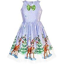 75e672164 Sunny Fashion Vestido para niña Navidad Víspera Árbol de Navidad Nieve Reno  Fiesta 7-14