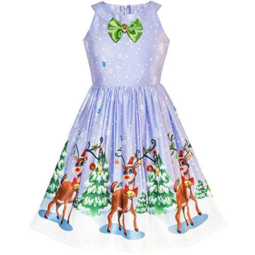 Mädchen Kleid Lila Rentier Schnee Baum Gr. 122 (Kinder Kleider)