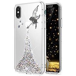 HMTECH Huawei P20 Lite Hülle Glitzer Kristallklar Diamanten Bling Stern Engel Feenhaftes Mädchen Durchsichtig Silikon TPU Schutzhülle Handy Bumper für Huawei P20 Lite,Silver Fairy Girl