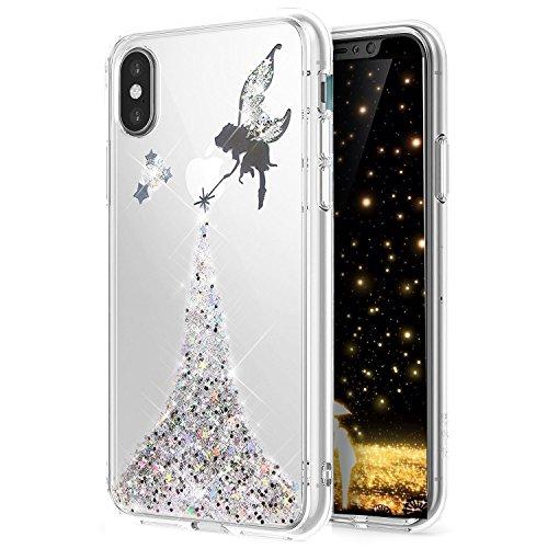 LEMAXELERS Huawei P20 Pro Coque Bling Bling Glitter de Luxe Angel Papillon Fille Silicone Souple TPU Transparente Bling TPU Bumper Coque Cas Couverture Etui pour Huawei P20 Pro,Silver Angel Girl