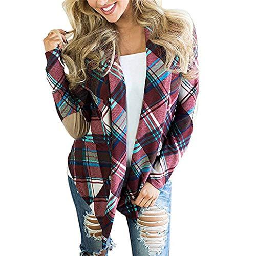 Baumwolle Kostüm Plaid - LANSKIRT Damen Jacke Frauen Plaid Print Langarm Outwear Ellenbogen Patch Drapierte Open Front Cardigan Sweater