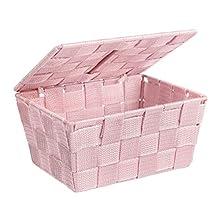 WENKO 22574100 Aufbewahrungskorb mit Deckel Adria Rosa - Badkorb mit Deckel, Polypropylen, 19 x 10 x 14 cm, rosa