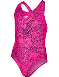 Speedo Girls Boom Allover, Bañador para niña, multicolor (Electric Pink/Black), 28