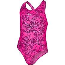 Speedo Girls Boom Allover, Bañador para niña, multicolor (Electric Pink/Black), 26