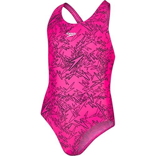 Speedo Mädchen Boom Splashback mit Allover-Print Swimwear Boom Splashback mit Allover-Print, Mehrfarbig (Electric Pink/Black), Gr. 140cm (Herstellergröße: 10 Jahre/28)