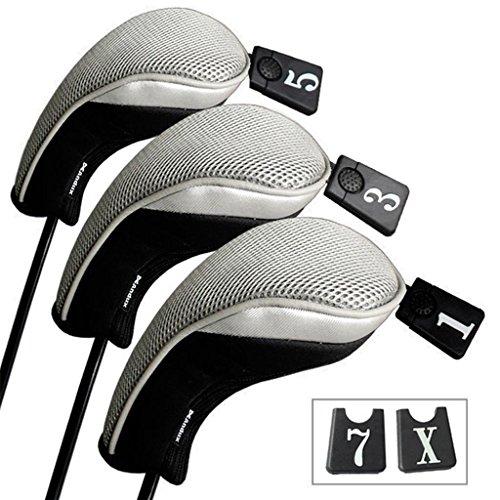 Andux 3 Packung golf holz Schlägerkopfhüllen Eisen hauben austauschbar Nr. Etikett MT/mg03 schwarz/grau
