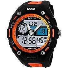 TTLIFE 1015 Reloj de cuarzo de pulsera. Digital, Multifuncional, Unisex, con luz LED. Reloj electrónico deportivo Resistente al agua de nuestra vida diaria (Naranja)