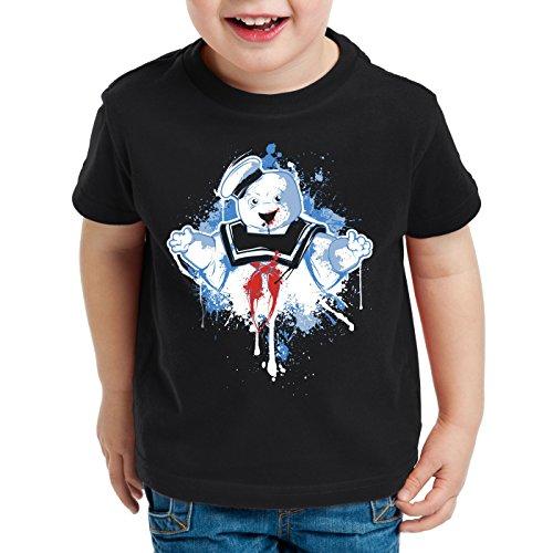 style3 Stay Puft Marshmallow Mann T-Shirt für Kinder geisterjäger schaumzucker, Farbe:Schwarz, Größe:104