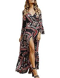050181ea71da HOMEBABY❤ Abito Manica Lunga Vestito Donna Elegante Boho Camicia Vestito  Lungo Donna Spiaggia Maxi Beach