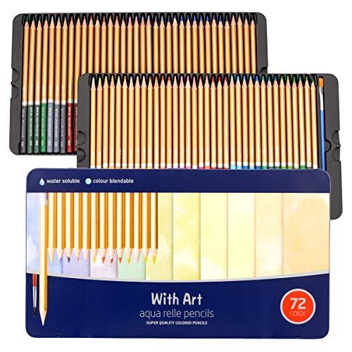 ZITFRI 72 Matite Colorate Colori a Matita Professionali Set Matite Colorate Bambini Pastelli Acquarellabili Colori Acquerellabili Matite Acquarellabili Professionali Matite Colorate Scatola Metallo