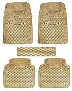 Vheelocityin Set of 5 Honda City Car Mat Premium Quality Beige Car Foot Mat