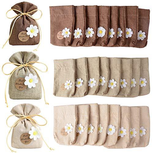 Buondac 24 pz 10 * 14cm sacchetti cotone con fiori bustine piccoli tela regalo bomboniere portaconfetti battesimo per matrimonio festa gioielli