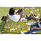 BigHappyShop Picnic Blanket Origami Animal Ditsy Chartreuse Waterproof Extra Large...