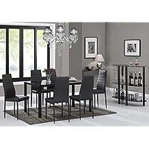EBS Conjunto de Muebles Juego de Comedor Sillas de Piel Sintética Mesa de Cristal con Patas de Metal - Negro / 6 Sillas y una Mesa