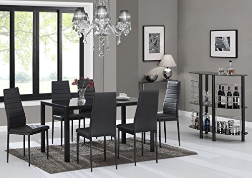 EBS® Black Glass Dining Table Set and 6 Chairs Dining Room Furniture Set - Modern Design Faux Leather