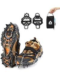 Yahill® Schuhspikes Schnee und Eis Schuhkrallen Steigeisen Greifen Mit 13 Zähnen Aus Mangan-Stahl-Spikes Für Damen Herren Kinder Winter Wandern Joggen Oder Klettern