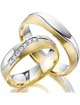 2 x 333 Trauringe Gold Bicolor Weißgold Eheringe Massiv Paarpreis LM.10.375 Weißgold Trauringe Paarpreis vom Juwelier...