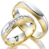 2 x 585 Trauringe Gold Bicolor Weißgold Eheringe Massiv Paarpreis LM.10.585 Weißgold Trauringe Paarpreis vom Juwelier Echtes Gold Verlobunsringe Wedding Rings Trouwringen