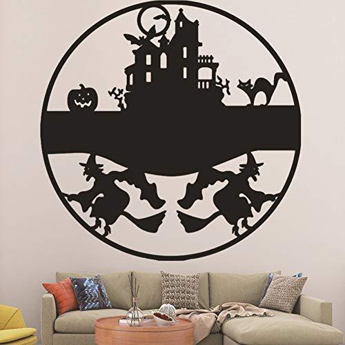 Wallpaper FANGQIAO SHOP Sticker Halloween Hexe Burg Tapeten Kürbis Katze Glas Fenster Wandtattoo Kunst Dekor Wandbild