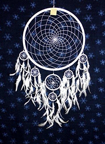 NEU Riesen Indianer Traumfänger XXL 42/85 cm. WEISS Dreamcatcher SNOW WHITE Fotoshooting EDEL - Xxl Snow