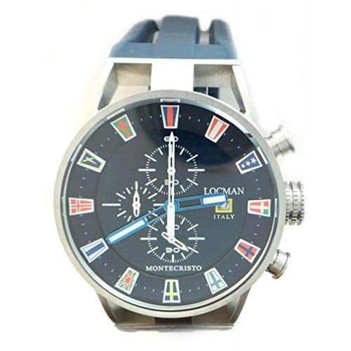 Watch Locman Men Quartz 05100blflaggob (Rechargeable) quandrante Steel Blue Leather Strap
