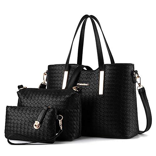 True-Ying Damen Handtasche PU Leder Geflochtene Geldbörse Hobo Messenger Bag Clutch Umhängetasche 3-teilig Geschenkset Schultertasche Messenger Bag Handtasche für Damen Schwarz