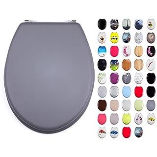 MSV WC Sitz Toilettendeckel MDF Holzkern Soft Touch Grau Scharniere aus Edelstahl - hochwertige und stabile Qualität