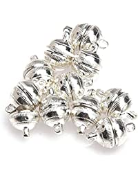 TOOGOO(R) 10pcs Silver Plated Strong Magnetic Clasps Round 10mm for Bracelets Jewelry