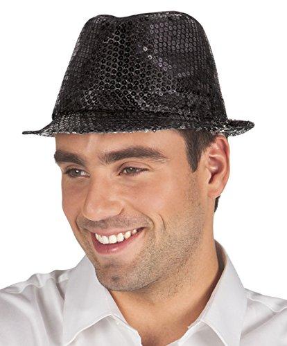Faschingsfete Karnevalsaccessoire - Hut mit Pailletten, Popstar, Schwarz