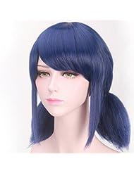 Perruque synthétique bleu foncé, courte, droite, avec double queue de cheval, pour cosplay manga ou costume d'Halloween pour enfants - 35,6 cm