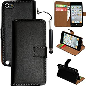 iPod Touch 5th 6th Generation Genuine Leather Case, iPod Touch 5/6 Case Genuine ZAFOORAH Credit Card Wallet Stand with 3 Bonus items Stylus, Screen Protector, Microfiber Cloth (Genuine Leather Wallet Stand - Black