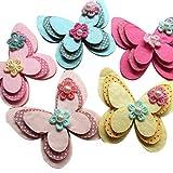 juqian New Gepolsterte Filz Schmetterling Satinband Blumen Perlen Applikationen Ornament 15Stück mix