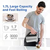 Excelvan Electric Kettle, 3000W Cordless Kettle / 1.7L Water Kettle with Overheating Protection, LED Light & Detachable Filter (Stainless Steel, Silver) [Energy Class A]