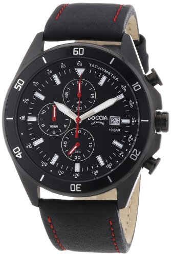Boccia - 3762-04 - Montre Homme - Quartz Chronographe - Chronomètre/Aiguilles/Luminescent - Bracelet Cuir Noir