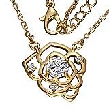 Veuer Blumen-Anhänger in Gold Edle Blüten Hals-Kette Schmuck für Damen Geschenk zu Weihnachten für die Frau/Freundin / Frauen