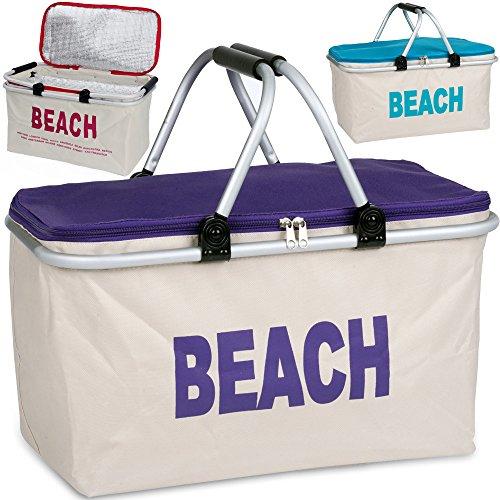 Kühltaschen Kühlbox Isolierbox Isoliertasche Einkaufstasche Campingtasche beige-lila