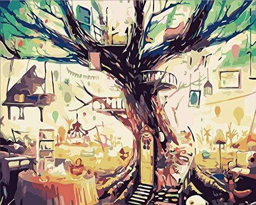 BSZHCT Dipingere per Numero - Casa sull'albero Magica - per Gli Adulti E Gli Anziani,I Bambini Principianti,DIY Dipinto Olio con Tela E Pennello 16 X 20 Pollici Vernice Acrilica -(Nessuna Cornice)