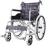 ACEDA Faltbarer Rollstuhl Mit Hohen Griffen,Leichtgewichtrollstuhl Medical Metallic,14Kg Transportrollstuhl Reiserollstuhl,Sitzbreite 46Cm, Rollstuhl(Kann 150Kg Unterstützen),Blue