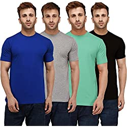 London Hills Solid Men Half Sleeve Round Neck Sea Green, Black, Grey, Blue T-Shirts Combo (Pack of 4)